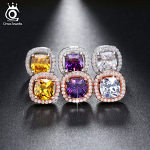 ORSA JEWELS 1ct  Cushion Cut Multi Color CZ Crystal Stud Earrings for Girls Fashion Nickel Free Jewelry OE149