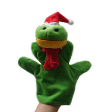 One piece, Plush Christmas frog hand puppet, stuffed Christmas frog hand puppet, Christmas animal hand puppets free shipping t(China)
