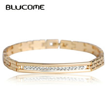 Blucome New Copper Crystal Bracelet for Women Rose Gold Color Link Pulseiras Female Stainless Steel Bracelets Bangles Hand Chain(China)