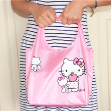 Hello Kitty Kawaii Women's Portable Storage Bag Shoulder Bags Ladies Hand Bag Cute Reusable Lunch Supermarket Eco Shopping Bag