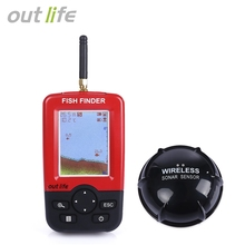 Outlife Portable Smart Fish Finder Sonar Sounder Alarm Transducer Fishfinder 100M Fishing Wireless Echo Sounder English Display