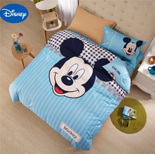 Mickey Mouse Comforters Set Bedclothes Cartoon Disney Bedding Textile Boy's Baby Bedroom Decor Twin Queen Size Cotton Blue Color(China)