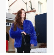 Hot sale multi-color imitation fur fashion plush coat cotton Long straight hair without collar short jacket outwear