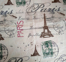 150 cm X 50 cm Paris Eiffel Tower printed fabric wholesale cotton linen curtain tablecloth fabric