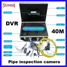 "Free shipping 40M Sewer Waterproof Video Camera 7"" LCD Screen Drain Pipe Inspection DVR 12 Led lights fiberglass cable 40m(China)"