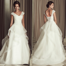 Brand New 2017 Sexy V-Neck Double Shoulder White Lace Long Train Wedding Dresses Retro Backless Bridal Party Dresses