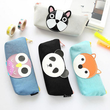 Y17 Kawaii Cute Panda Owl Fox Dog Pen Bag Pencil Storage Organizer Case School Supply Birthday Gift Cosmetic Makeup Travel(China)