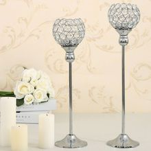 Crystal Candle Holder Set Metal Candlestick Votive Candle  Lantern Stand Candelabra Wedding Centerpieces Table Lamp Decoration