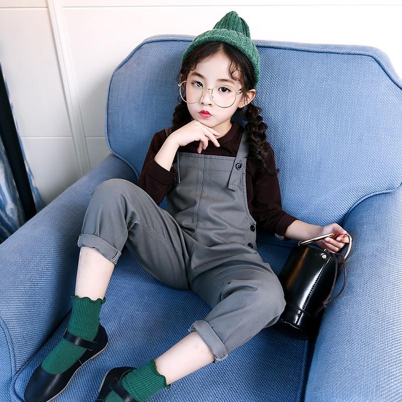 4 5 6 7 8 9 10 11 12 13 Years Teenager Girls Fashion Clothing Set Autumn Long Sleeve Soild T Shirt + Overalls 2pcs Kids Clothes<br>