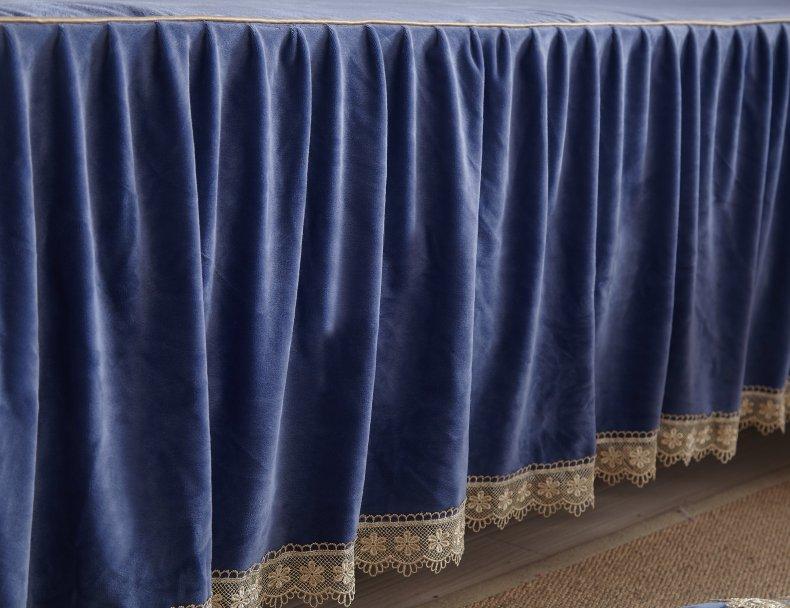 3Pcs Fleece Bed Skirt Set W/ Pillowcases, Mattress Protective Cover 44