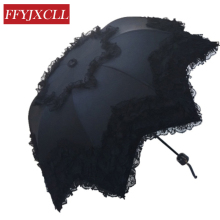2017 fashion princess lace umbrella vaulted super brand umbrellas Vinyl UV sun umbrella creative umbrella woman(China)