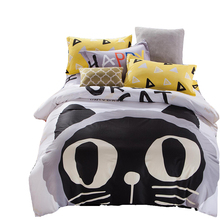 100% cotton duvet cover set,cat printed quilt cover bed sheet yellow/grey pillowcase,twin queen size bedding set soft bed linens