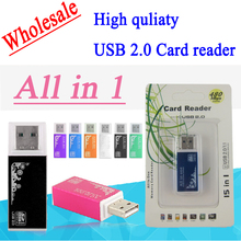 Wholesale Multi All In One Aluminum Memory Card Reader smart For SD/SDHC,MMC/RS MMC,TF/MicroSD,MS/MS PRO/MS DUO,M2 card reader