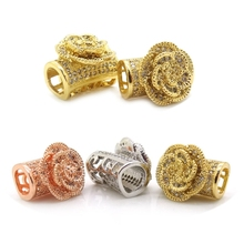Satellite flower Tube Beads Micro Pave Zirconia Brass Beads Findings For Leather Bracelet Making Jewelry Link DIY Beads(China)