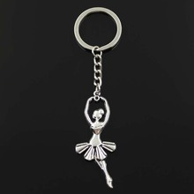 Fashion diameter 30mm Key Ring Metal Key Chain Keychain Jewelry Antique Silver Plated ballet dancer ballerina 61*24mm Pendant(China)