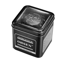 OHSEN Fashion Metal Iron Causal Sport Watch Gifts Boxes Black High quality Men Women Children Kids Birthday Gift Box(China)