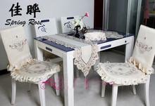 Spring Rose 010 Embroidery table linen,country living lavender tablecloths(China)