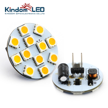 KINDOMLED 10Pcs g4 led lamp Bulb Round Board SMD5050 2.4W 4W Wide voltage 10-30V DC Back Pin White Commercial Engineering Indoor