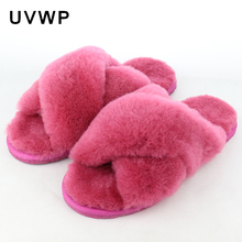 Natural Sheepskin Home Slippers Fashion Winter Women Indoor Slippers Fur Slippers Warm Furry Wool Slipper Lady House Shoes Flats(China)