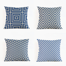 Classic blue stripes Geometric beige cloth Pillow case cushion cover club coffee shop sofa seat chair home decorations for gift(China)