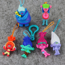 Hot 6pcs/lot Dreamworks Movie Trolls Poppy DJ Suki Guy Diamond Cooper Branch PVC Action Figure keyring keychain pendant Toy