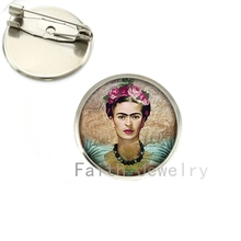 Wholesale Cheap good quality brooch pins Frida Kahlo painting brooches charm feminist jewelry silver plated handmade gift NS122