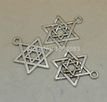 Free shipping 15pcs 22*16mm Antique Silver and bronze big and small brother Star of David Charm Fit Bracelet Necklace Jewelry