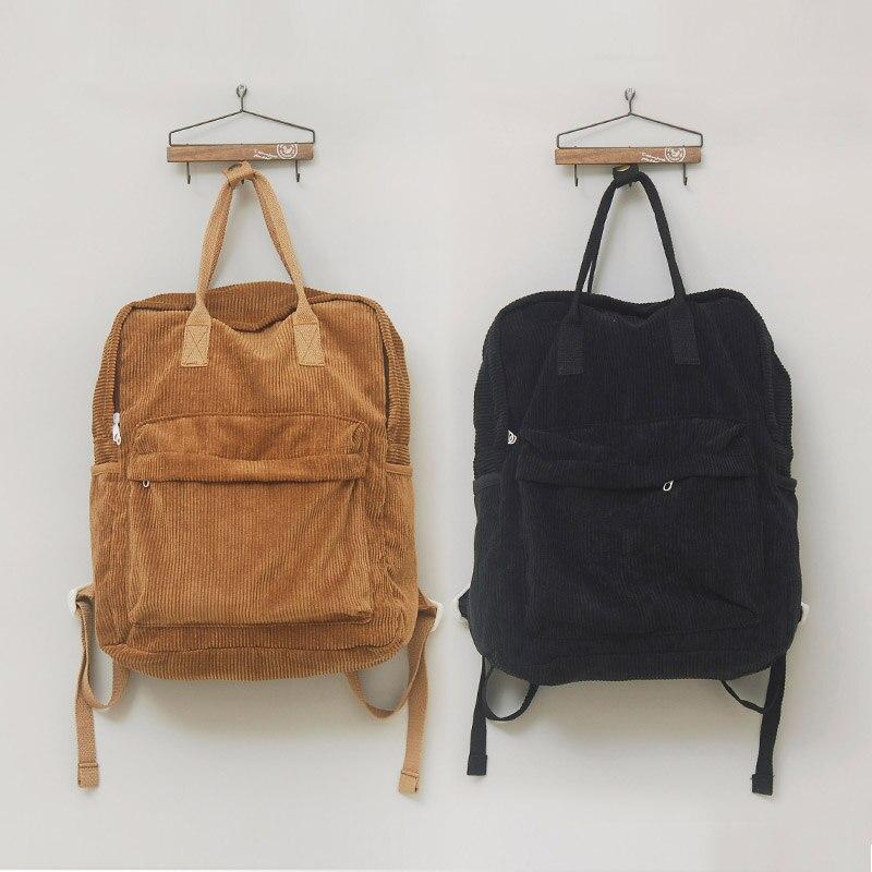 Japanese Mori Girl Vintage Fresh Backpack Corduroy Casual Traveling Bag Student School Book Bag Soft England Wind Cchoolbag<br><br>Aliexpress