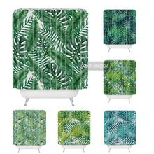 Wholesale Green plants pattern shower curtains 180cm*180cm waterproof bathroom curtain Comfortable and simple bath curtain