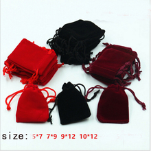 4 size Wholesale price 5 pcs red/black/blue pure color nylon bag  jewelry/ XMAS gift bag package  good gift package  bag  A45