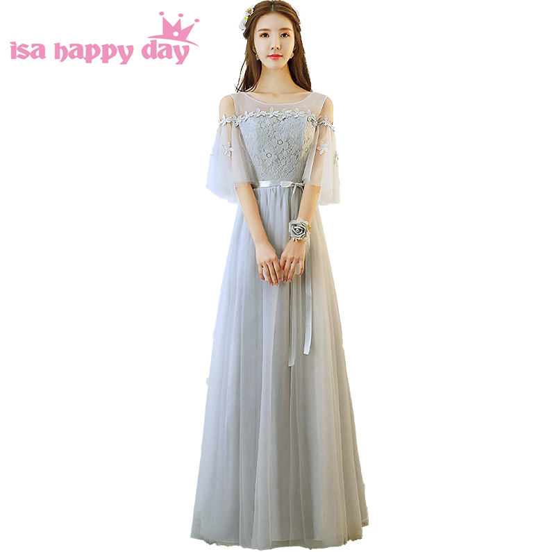 special occasion girls long sexy formal gray dress party evening elegant gowns women floor length gown pageant dresses H4189