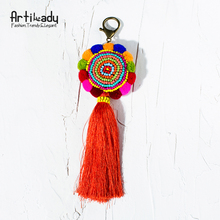 Artilady bohemia pom tassel keychain bag charm women's boho jewelry keyring for party