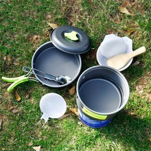 1Set Cookware Portable Outdoor Cooking Tool Picnic BBQ Pot Pan Plate Cup Set Stainless Steel Tableware Cutlery Camping Drop Ship(China)