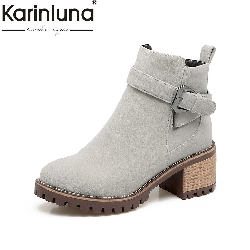 KARINLUNA 2017 Plus Size 33-43 Platform Zip Up Woman Shoes Fashion Square Heels Buckle Black Gray Ankle Boots Western Boot Women<br>
