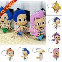 Novelty 100pcs Bubble Guppies PVC keychains necklace Cellphone Pendants Charms Accessory Small figure Keyrings Kids Toy Gift