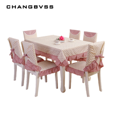 9 Pieces/set Tablecloths with Chair Covers Mats Embroidered Tablecloth Linen For Table Wedding Home Coffee Table Cloth Cover(China)