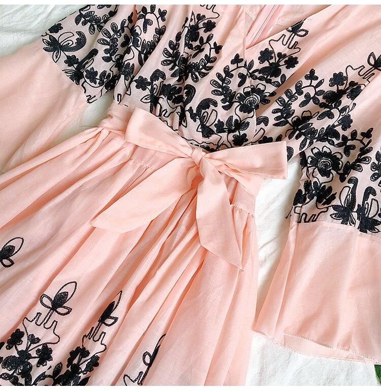 2019 Spring Summer V-neck Embroidery Dress Flare Sleeves Bohemian Dress Belted Ethnic Loose Vintage Dress 68
