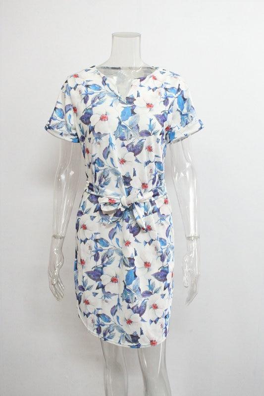 2018 Spring Summer Printed Women Dress O-Neck Hem Side Split Ladies Dresses Tie Sashes Short Sleeve Casual Sexy Female Vestidos 20