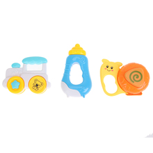 3pcs Baby Infant Cartoon Handbells Train Milk Bottle Snail Teething Handbells Developmental Rattle Toys (Color Random)(China)