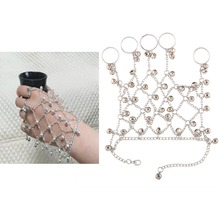 Women Fashion Jewelry Hand Chain Wrist Bracelet with Five Rings and Little Bell Metal Lace Net Glove High Quality Gift Jewelry