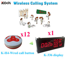 Wireless Service Button Pager System K-336 LED Monitor With K-H4 Transmitter( 1pcs display+ 12pcs call button)(China)