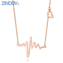 Modern Designer Necklace Stainless Steel PVD Gold Women Ladies Popular Rose Gold Jewelry Heart Charm Female Fashion Accessories