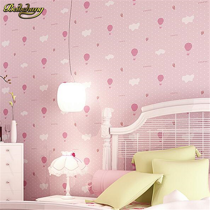beibehang Environmentally friendly breathable warm children s bedroom bedroom wallpaper cute pink strawberry parachute<br>