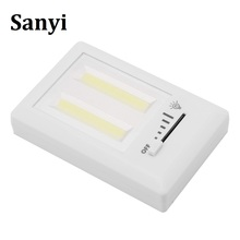 LED Night Light Indoor lighting Ultra Bright Mini COB Wireless Wall Light with Switch Magic Tape for Camping Led Lamp