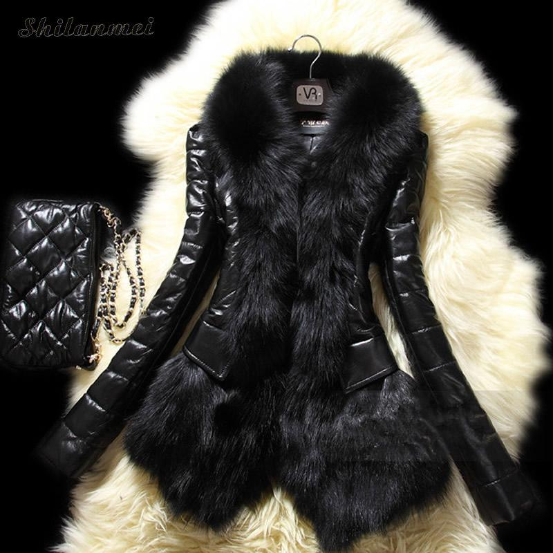 2017 New European style fashion fur coat Fake natural mink stand Collar good quality mink fur coat women black coats fur