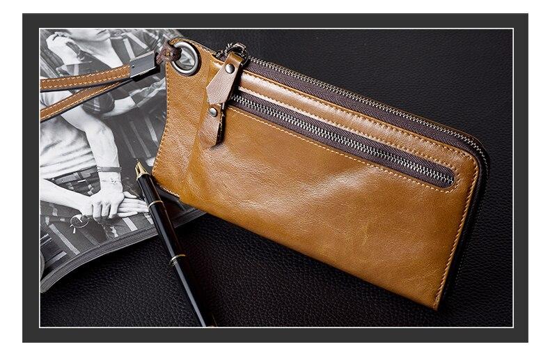 LUENSRO Wallet Leather Vintage Wallets Men Genuine Leather Wallet Zipper Card Holder Purse Long Coin Purse Money For iPhone7S (19)