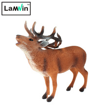 Lamwin Colorful Realistic Wild Animal Toy Animation Model Mini Hollow Type Deer Action Figure For Children