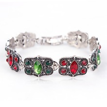 Vintage Gold or Silver Color Green & Red Crystal Rhinestones Beautiful Bracelets for Women