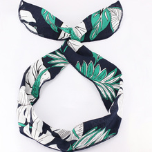 Vintage Leaf Floral Print Wire Headband Pinup Rockabilly Head Wrap Scarf Literary Bandana Wholesale Korean Hair Accessories