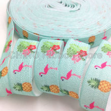 "10 yards 5/8"" Pink Flamingo Hibiscus Pineapple Print Fold Over Elastic FOE Ribbon Clothing Accessories DIY Headwear Elastic Band"